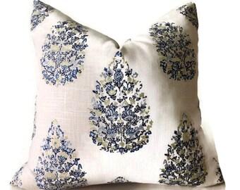 Duralee Kedara Tree Pillow Cover in Blue and Green, Throw Pillows, Decorative Pillow, Lumbar Pillow, Home and Living, Home Decor