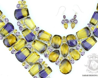 457 Carats Combined Lab SIMULATED AMETRINE in Multiple Faceted Shapes 925 Solid Sterling Silver Necklace Set 165