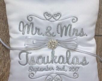 Personalized Ring bearer pillow, wedding ring pillow , Custom ring pillow , wedding pillow , ring cushion