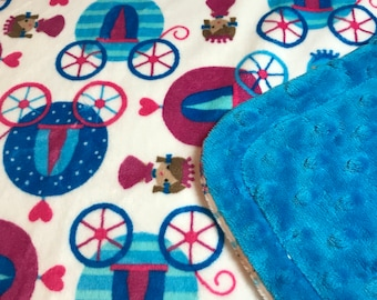 Minky Blanket Multi Colored Princess Carriage Print Minky with Peacock Blue Dimple Dot Minky Backing - Perfect Size a Toddler or Child