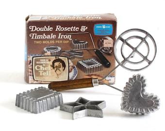 Nordic Ware Rosette Iron Waffle Shell Maker Dip Form Set Star Heart Circle Diamond Timbale Iron