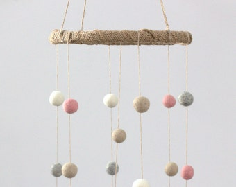 Pink, Gray, Almond & White Felt Ball Nursery Mobile SMALL SIZE- Nursery Childrens Room Pom Pom Mobile Garland Decor
