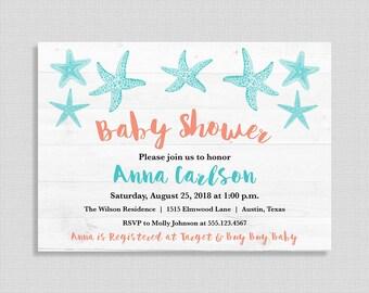 Beach Baby Shower Invitation, Aqua & Coral Baby Shower Invite, Nautical, Starfish, DIY PRINTABLE