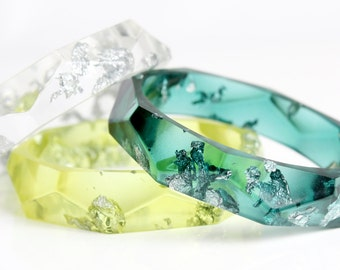 juniper green eco resin bangle with silver flakes