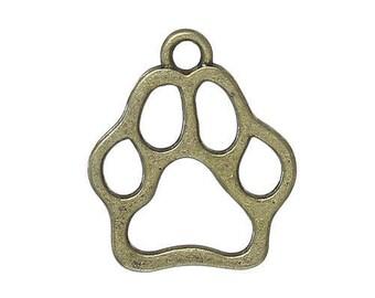 Bronze paw print charms 10 charms foot print charms cat paw print charm dog paw print charms