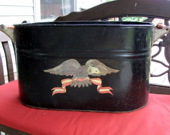 Antique Copper Boiler Tole Painted with Eagle / Copper Tub / Rustic Pot / Farmhouse Chic