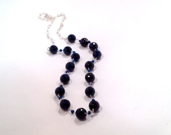SALE--925 Sterling Silver - Faceted Blue Agate Wire Wrapped Necklace