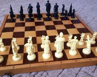 Ukrainian Cossacks vintage plastic chessmen wooden board chess set // Ukraine USSR made personalized medieval chess pieces