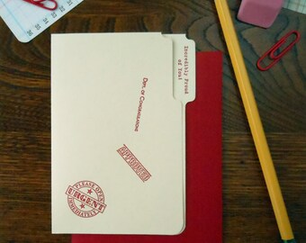 letterpress incredibly proud of you mini manila file folder greeting card red ink on manila paper with red envelope