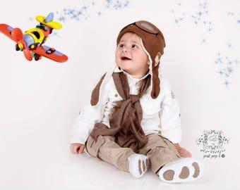Aviator hat, vintage plane prop. airplane, baby photo prop. Pilot, hat, cap   - free shipping
