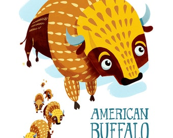 American Buffalo/Bison Oklahoma State Mammal Illustrated Print- 8x10 Limited Edition