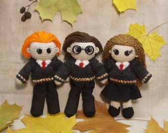 Harry Potter Hermione Granger Ron Weasley Crochet Dolls Set Portrait dolls Personalized gift Hogwarts teenage gift Will be made JUST FOR YOU