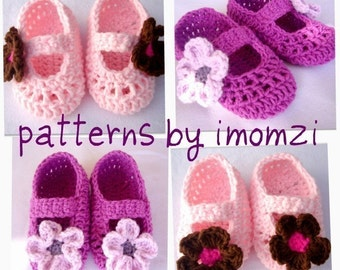 PDF Crochet Pattern Mary Jane Slippers  for newborn to 2 years old size