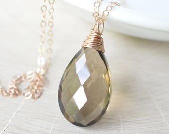 Smoky Quartz Necklace, Rose Gold Filled, Greige Brown Neutral Necklace, Layering Necklace, Simple Everyday Jewelry, Wire Wrapped Pendant,