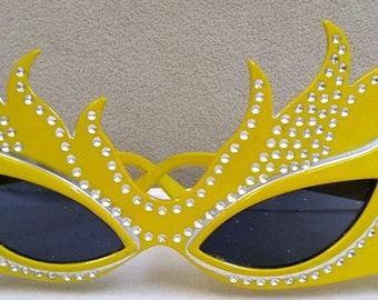 Retro 1950s Yellow Rhinestone Sunglasses Making the Ultimate Statement Have Fun!