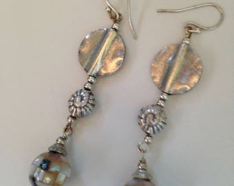 Mosaic Mother of Pearl with Silver Hammered Discs