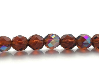 """Czech Glass Beads Fire Polish 8mm Smoky Topaz AB Round Faceted Firepolished, Jewelry Making Supplies, Beading Supply - 16 Beads - 5"""" Strand"""