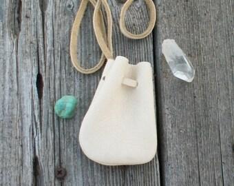 Leather neck pouch , medicine bag, Crystal bag, Amulet bag, Leather necklace bag, Small leather medicine bag