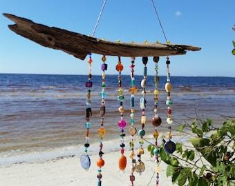 Beaded Sun Catcher / Palm Bract / Coastal / Window Jewelry / Home Decor /  Mobile