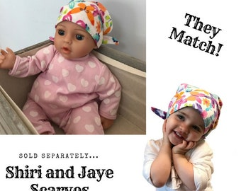 Shiri Children's Doll Head Scarf - Matching Doll Hat To Our Jaye Scarf, Hat, Head Cover, Cancer, Chemo, Alopecia, Hair Loss, Butterflies