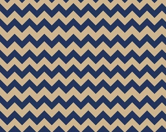 Spring Cleaning Riley Blake Fabric - 1 Yard of Small Chevron in Navy/Tan