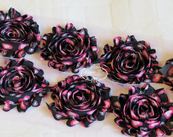 Black Rosettes with Hot Pink Heart Print 2 1/2 inch- 1 yard Chiffon Shabby Rose Trim, Hair Bow. Chiffon Rosettes