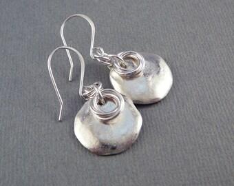 Silver Dangle Earrings, Cool Earrings, Circle Earrings, Silver Drop Earrings, Unusual Silver Earrings, French Wire Earrings, Trendy Jewelry