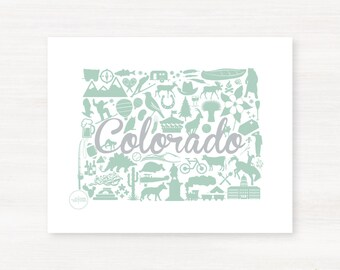 Colorado Custom Landmark Custom State Map Art Print - 8x10 Giclée Print - Great Graduation Gift Idea - Unique Dorm Decor