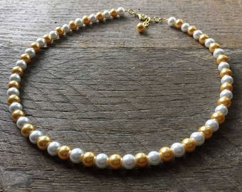 Gold and White Pearl Necklace, Bridal Necklace, Wedding Necklace, Prom Jewelry Gift, Single Strand Necklace, White Gold Pattern