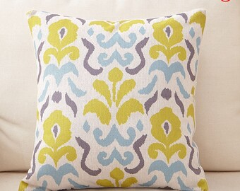 Beautiful Aqua Blue Lime Green and Gray Geometric Pillow Cover 18 x 18