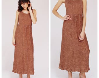 70s Metallic Copper Knit Dress- Gold, S/M, Holiday Party Lurex Dress, Maxi Gown, Stretch Disco NYE