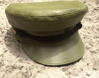 Leather Fiddler Hat - Khaki Green - Adults and Kids