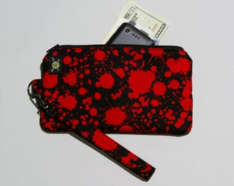 Blood Splatter Phone Wristlet, Zipper Pouch, Wallet Wristlet, Detachable Strap, Small Purse, Gore