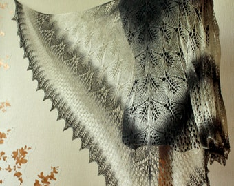Lace shawl - handknit lace shawl in black and white colors