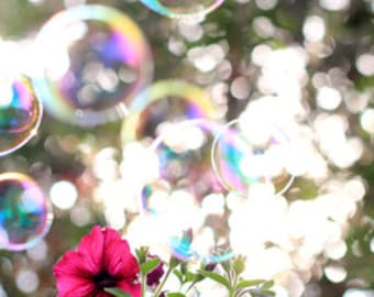 Bubbles and Petunias - Whimsical  Photo Print - Size 8x10, 5x7, or 4x6
