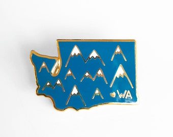 Washington Mountains Enamel Pin - Washington State Pin