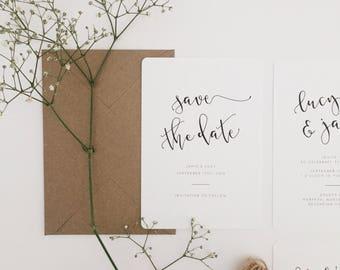 Iris || Save The Date, Minimal Wedding Invitations, Modern Calligraphy Invites, Handmade Wedding Invitation Suite