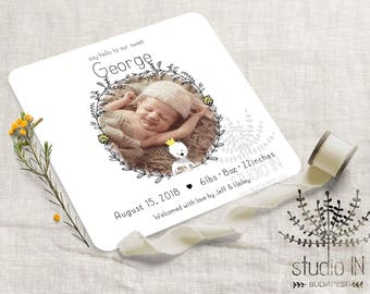 Birth announcement card, baby boy announcement, printable baby birth card, newborn announcement, new baby photo card