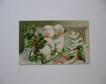 Christmas Vintage Post Card - A Joyful Christmas - Snowbabies Sledding - 1910 - Used