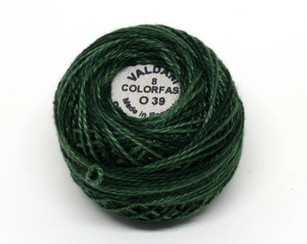 Valdani Pearl Cotton Thread Size 12 Variegated: #O39 Forest Greens