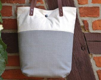 Shoulder bag leaf pattern with leather handles, fabric bag, grey,