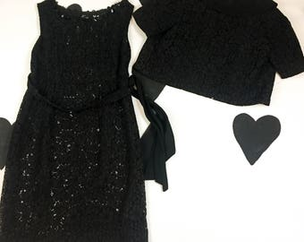 50's sheer black lace dress and bolero jacket set / 1950's vamp pinup goth sexy evening widow paillettes sequin matching suit outfit M L XL