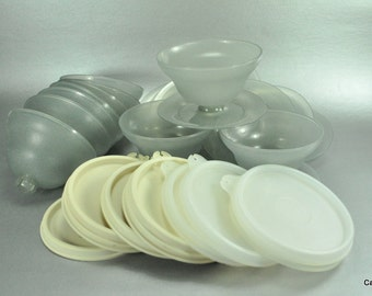 Tupperware Dessert Pudding Cups Bowls  Smoke Gray Pedestal Vintage Set of 10 with Lids 754