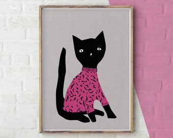 Cat Print, Wall Art Cat, Black Cat, Cat Clothes, Cat Printable, Cat Poster, Cat Sweater, Cat Sweatshirt, Animals in Clothes, Cute Cat Print