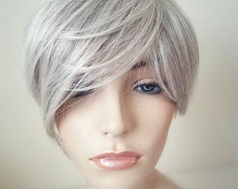 Silver Grey wig, Gray wig, Short pixie cut wig, Long Side Bangs Wig, Pixie wig, Fairy Hair wig