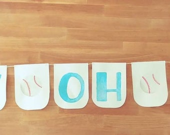 Boy oh boy baby shower or welcome home banner watercolor custom