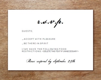Printable RSVP Card - Response Card Download - Instant Download - RSVP Template - Black & White - Calligraphy Response Card - Response Card