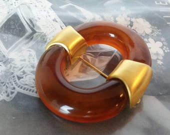 GIVENCHY Lucite and Gold Brooch Vintage 1970s I Givenchy Designer Pin Brooch Amber Lucite I Mothers Day Gift Wedding Gift