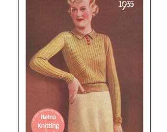 1930s Lady's Sweater Vintage Knitting Pattern - PDF  Instant Download