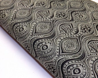 Bubble and Blooms 6151-94 Black Gray Wave Design Print Lyndhurst Studio Quilting Sewing Fabric